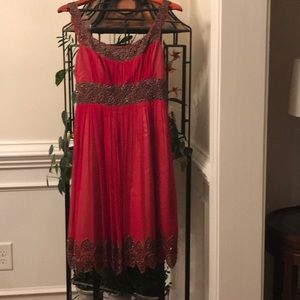 NWT. Adrianna  Papell red beaded dress